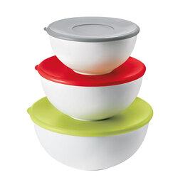 Блюда, салатники и соусники - Салатницы разноцветные с крышками 3 штуки Guzzini, 0