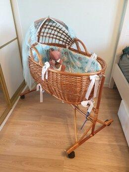 Кроватки - Плетеная люлька с подставкой-качалкой, 0