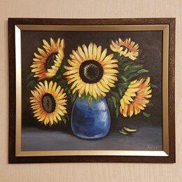 """Картины, постеры, гобелены, панно - Картина """"Подсолнухи в вазе"""", с багетом, 41х35,5см, масло, холст, 0"""