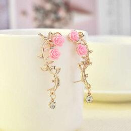 Серьги - Серьги с розовым листом розы, 0