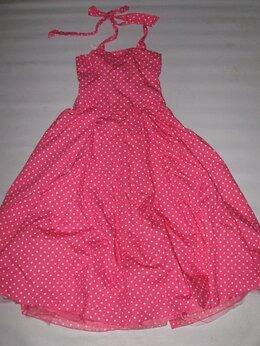 Платья - Платье-сарафан миди, розовое в горошек, в стиле…, 0