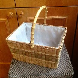 Корзины, коробки и контейнеры - 3шт Корзина из ротанга, с тканью, ручка бамбук, 0