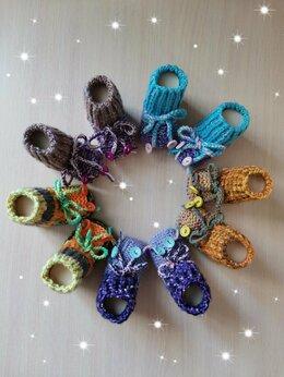 Носки - Вязаные детские пинетки (ручной работы) , 0