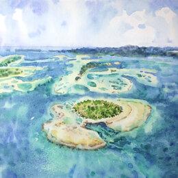 """Картины, постеры, гобелены, панно - Картина акварель """"Острова"""", 0"""