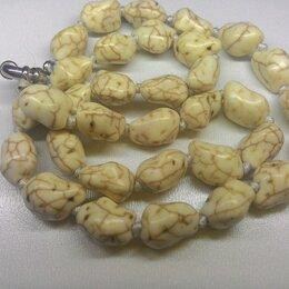 Колье и бусы - Бусы ожерелье белая бирюза, длина 45 см, 0