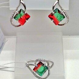 Комплекты - Серьги и кольцо серебро 925пр. камень Турмалин БИколор, форма квадрат. НОВОЕ., 0