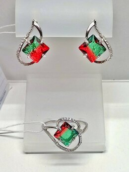 Комплекты - Серьги и кольцо серебро 925пр. камень Турмалин…, 0