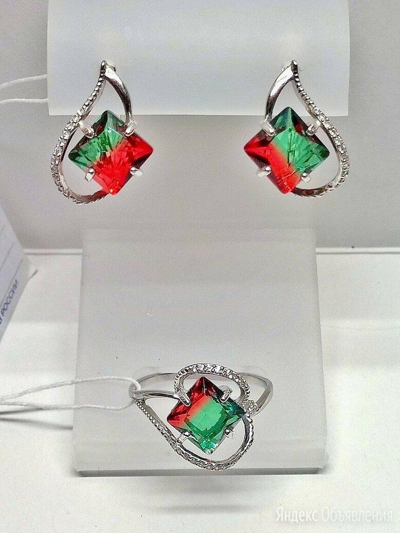 Серьги и кольцо серебро 925пр. камень Турмалин БИколор, форма квадрат. НОВОЕ. по цене 6000₽ - Комплекты, фото 0