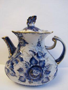 Заварочные чайники - Чайник ( в золоте) Гжель новый авторская роспись, 0