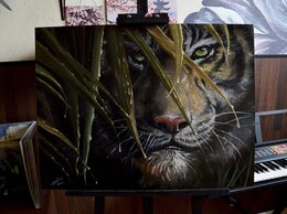 Картины, постеры, гобелены, панно - Картина маслом. Тигр. подарок, 0
