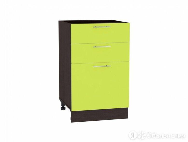 Шкаф нижний с 3-мя ящиками Валерия-М Н 503 Лайм глянец-Венге по цене 4802₽ - Мебель для кухни, фото 0