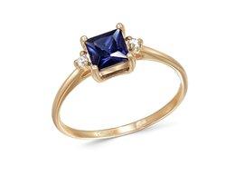Кольца и перстни - Кольцо с сапфиром и 2 бриллиантами из красного…, 0