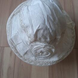 Головные уборы - Шляпка льняная с кружевом и бантом, 0