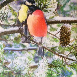 Картины, постеры, гобелены, панно - Картина «Птицы», холст/масло, 0