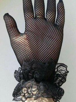 Перчатки и варежки - Перчатки новые черные сетка стрейч кружева…, 0