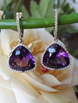 Серьги - Серьги с аметистами и бриллиантами, 0