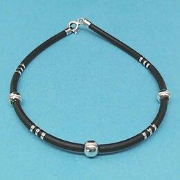 Браслеты - Женский браслет из каучука с серебром - арт…, 0