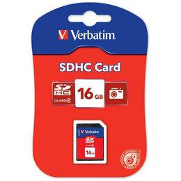 Карты памяти - Флеш карта SD 16GB Verbatim SDHC Class 4, 0