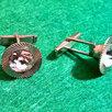 Запонки круглые, камень сверкает, времен СССР по цене 4000₽ - Запонки и зажимы, фото 5