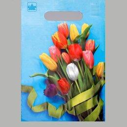 """Подарочная упаковка - Пакет """"Тюльпаны"""", полиэтиленовый с вырубной ручкой, 20 х 30 см, 30 мкм, 0"""