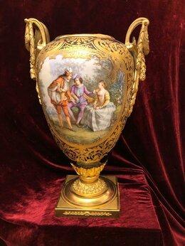 Вазы - Антикварная большая ваза (живопись, кобальт,…, 0