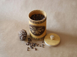 Подарочные наборы - Туес из бересты «Шишки» с кедровыми орехами 0,5 кг, 0