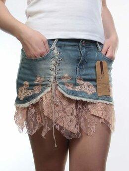 Юбки - Юбка джинсовая женская (97% хлопок, 3%…, 0