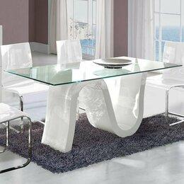Столы и столики - Обеденный стол стеклянный 180 см белый ESF, 0