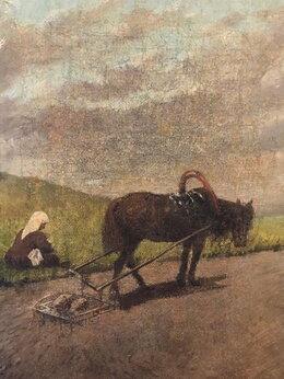 """Картины, постеры, гобелены, панно - Антикварная картина """"Пашня"""" Н.Н. Каразин. , 0"""