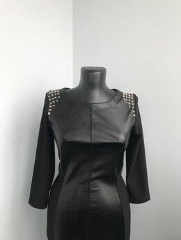 Платья - Платье с заклёпками и вставкой из экокожи, 0
