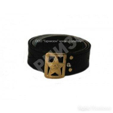 Ремень генеральский кожаный черного цвета со звездой по цене 1200₽ - Ремни и пояса, фото 0