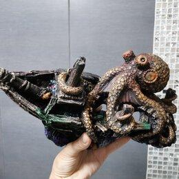 Декорации для аквариумов и террариумов - Корабль с осьминогом. Декорация для аквариума, 0