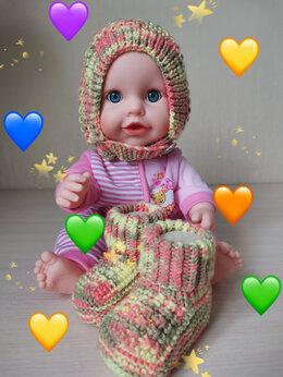 Головные уборы - Вязаный детский комплект чепчик и пинетки…, 0