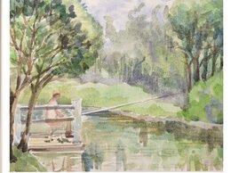 Картины, постеры, гобелены, панно - Акварель картина парк рыбалка лето интерьер…, 0