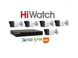Камеры видеонаблюдения - Видеонаблюдение HiWatch (IP-POE) на 5камер 4Mxp, 0