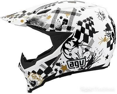Шлем кроссовый AGV AX - 8 MULTI Spider White/Black/Gold по цене 37700₽ - Мотоэкипировка, фото 0