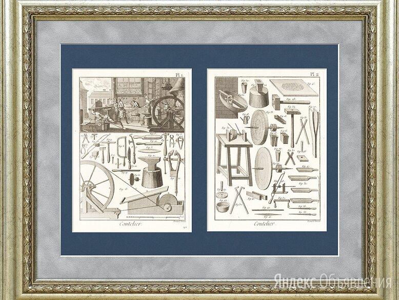 Мастерская ножовщиков и их инструменты. Старинные гравюры по цене 155000₽ - Гравюры, литографии, карты, фото 0