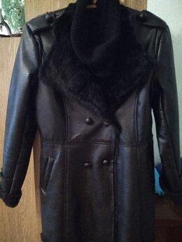 Куртки - Черная утепленная куртка под кожу р.46-48, 0