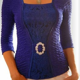 Блузки и кофточки - Синяя красивая блуза, 0