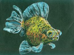 """Картины, постеры, гобелены, панно - Рисунок """"Золотая рыбка"""" масляная пастель бумага…, 0"""