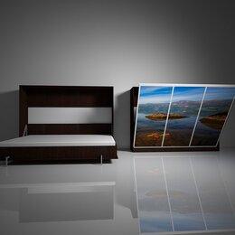 Кровати - Подъемная двуспальная кровать в шкафу 160х200. Взрослая с фотопечатью Ф-9, 0