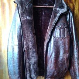 Куртки - Куртка кожаная зимняя, мех натуральный, коричневая, размер 52, 0