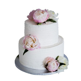 Аксессуары - Белый двухъярусный свадебный торт с бутонами…, 0