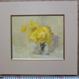 Картины, постеры, гобелены, панно - картина Желтый Букет,картон,масло, 0