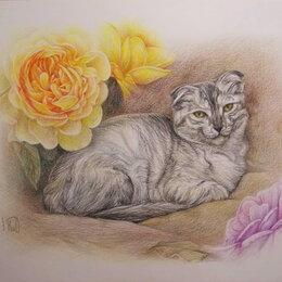 Картины, постеры, гобелены, панно - Вислоухая кошка и английские розы. Кот,цветы,букет,пионы,картина, 0