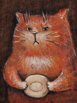 """Картины, постеры, гобелены, панно - картина """"Котик ждёт..."""", 0"""