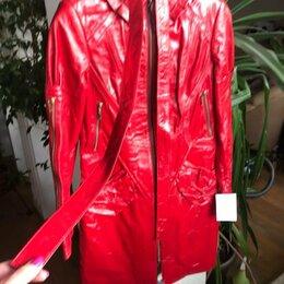 Куртки - Куртка-плащ новая, натуральная лаковая кожа, 0