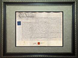 Картины, постеры, гобелены, панно - 1827 год. Договор аренды на листе натуральной…, 0