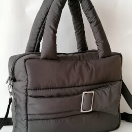 Сумки - Дутая стеганая сумка чёрная , 0