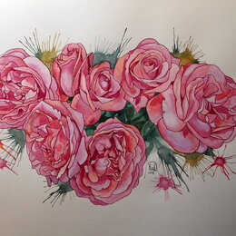 Картины, постеры, гобелены, панно - Семь роз. Акварель, букет,цветы,розовый, картина, 0